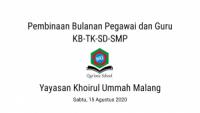 Rapat Bulananan Pegawai dan Guru Yayasan Khoiru Ummah Malang | KB-TK-SD-SMP